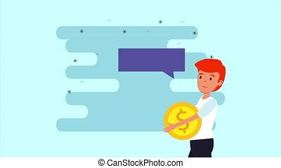 businessman lifting coin money dollar animation