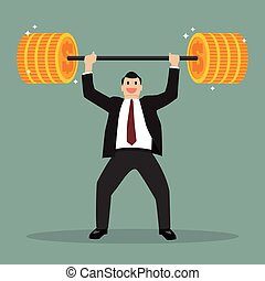 Businessman lifting exercise with barbell coin weight