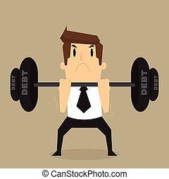 businessman lifting heavy weight debt