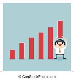 Businessman lifting increase graph.