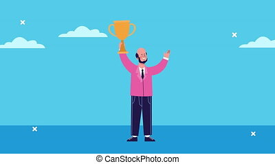 businessman lifting trophy character animated ,4k video ...