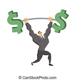 Businessman Lifting Up Barbell with Dollar Sign. Business character, symbol of success and self-confidence. Concept vector illustration isolated on white background.