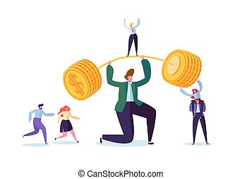 Businessman Lifting Up Barbell with Golden Coins. Financial Success Team Work Concept. Business Achievement Making Money. Vector illustration