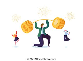 Businessman Lifting Up Barbell with Golden Coins. Financial Success Team Work Concept. Business Achievement Making Money. People Celebrating. Vector illustration