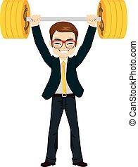 Businessman Lifting Up Money