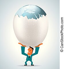 Businessman lifts a huge egg, Earth is in the egg. The background is white.