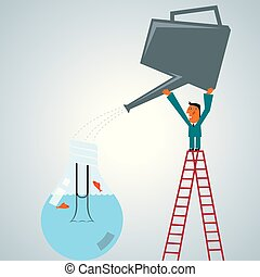 Businessman lifts the kettle,Watering the bulb,Fish is in the bulb. The background is grey.