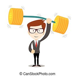 businessman lifts up heavy barbell with dollar sign