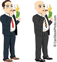 Businessman Lighting Cigar - Two different rich businessman...