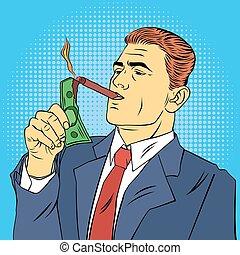 Businessman Lighting Cigar with Dollar Bill. Successful...
