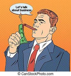 Businessman Lighting Cigar with Dollar Bill. Successful Businessman. Pop Art. Vector illustration