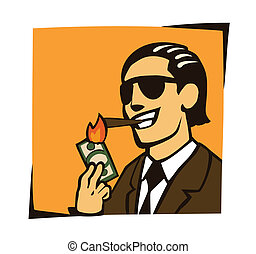 businessman lights a cigar with dol