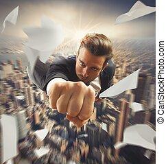 Businessman flying over the city like superhero