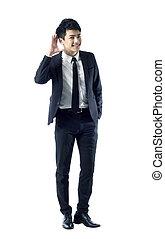Businessman listening gesture - Portrait of young...