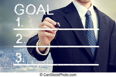 Businessman listing his goals with cityscape background