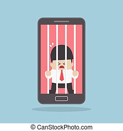 Businessman locked in smartphone