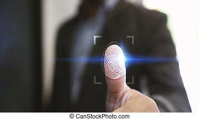 Businessman login with fingerprint scanning technology. fingerprint to identify personal, security system concept