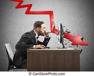 Businessman look the negative report of his company. A red arrow breaks the screen