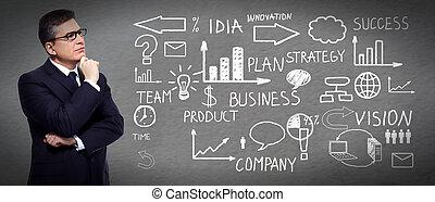 Businessman looking a scheme