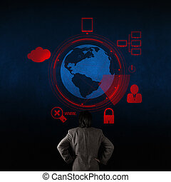 businessman looking at 3d world with padlock as Internet security online business concept