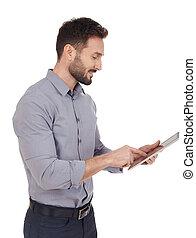 Businessman looking at a digital tablet