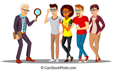 Businessman Looking At A Magnifying Glass Of People. Staff Search, HR Concept Vector. Isolated Illustration