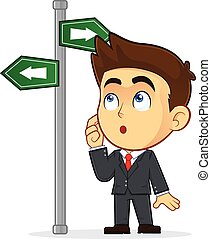 Businessman Looking at a Sign