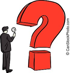 businessman looking at big question mark through magnifying glass vector illustration sketch doodle hand drawn with black lines isolated on white background. Business concept.