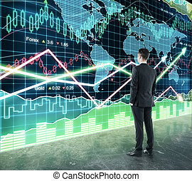 Businessman looking at big screen with business chart and glowing arrows