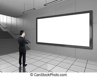 businessman looking at billboard - businessman looking at ...