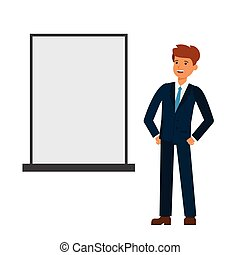 businessman looking at blank board cartoon flat vector illustration concept on isolated white background