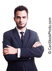 Businessman looking at camera on white background