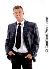 businessman looking at camera - young accountant looking at...