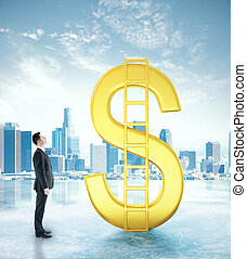 Businessman looking at dollar sign