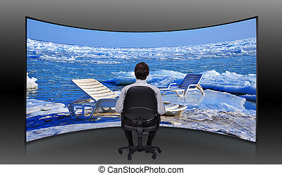 businessman looking at  frozen sea