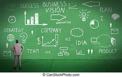 Businessman looking at Innovation plan.