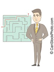 Businessman looking at labyrinth with solution.