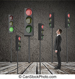 businessman looking at many traffic light