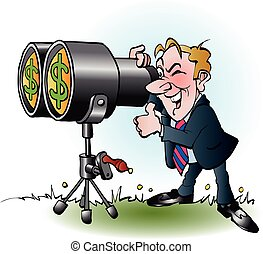 Businessman looking at money - Vector cartoon illustration...