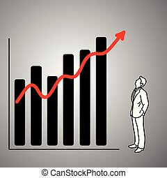 businessman looking at red graph up vector illustration doodle sketch hand drawn with black lines isolated on gray background. Business concept.