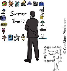businessman looking at summer icon set vector illustration sketch doodle hand drawn with black lines isolated on white background