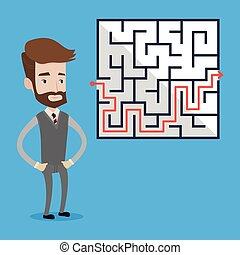 Businessman looking at the labyrinth.