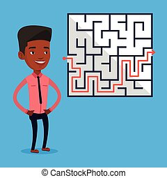 Businessman looking at the labyrinth with solution