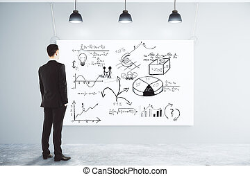 Businessman looking at the poster with business scheme concept on the wall in empty loft room