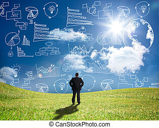 Businessman looking at white graphs and data in the sky while standing in a field
