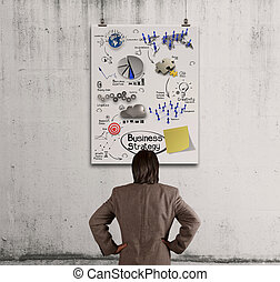 businessman looking  business concept on poster wall