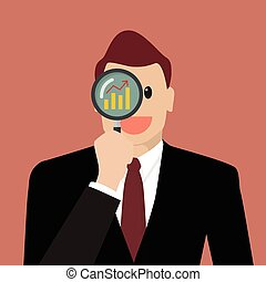 Businessman looking for business future through a magnifying glass