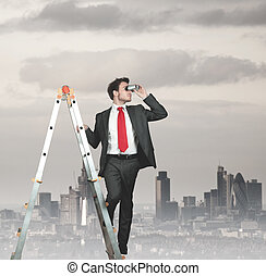 Businessman looking for business - Businessman looking for...