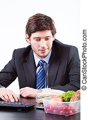 Businessman looking for food