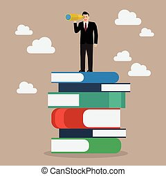 Businessman looking for future trends concept. Vector ...